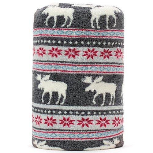 COSMOZ Christmas Elk Sunflower Pattern Grey Background Soft Lightweight Coral Fleece 230GSM Blanket Throw 50