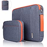 Voova 14-15.6 Inch Laptop Sleeve Bag Cover Special Design Waterproof Computer Protective Carry Case with Detachable Accessory Pocket Compatible with Chromebook, MacBook Pro Retina 15', HP, Dark Gray