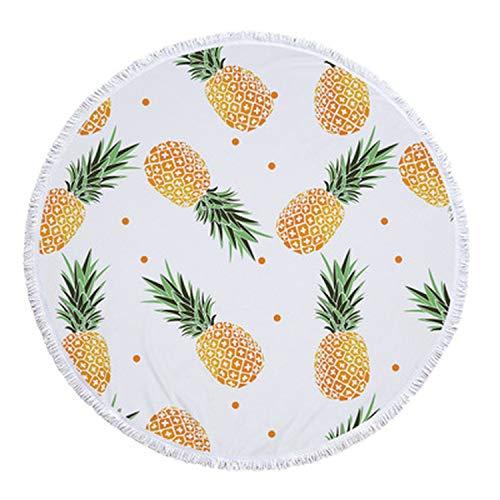 (26 Colors 150cm Tassel Giant Beach Blanket Pineapple Printed Picnic Camping Mat Round Sandbeach Towel Cloth Pad Shawl Mattress,8,300g)
