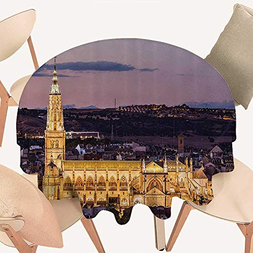 (Dragonhome Simple Modern Round Table Cloth Dusk as The Flood Lights are Illuminated Cathedral in Ancient City of Toledo Spain Prin for Daily use, Wedding, Restaurant, 63 INCH Round)