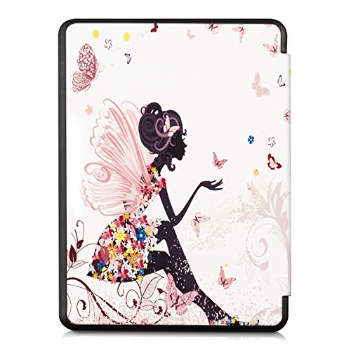 kwmobile Case Compatible with Kobo Glo HD/Touch 2.0 - PU e-Reader Cover - Fairy Butterflies Multicolor/Dark Pink/White