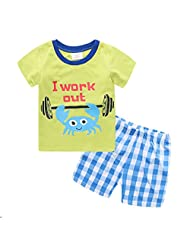 Captain Meow Boys' Short Sleeve Clothing Set T-shirt And Short Pants Crab