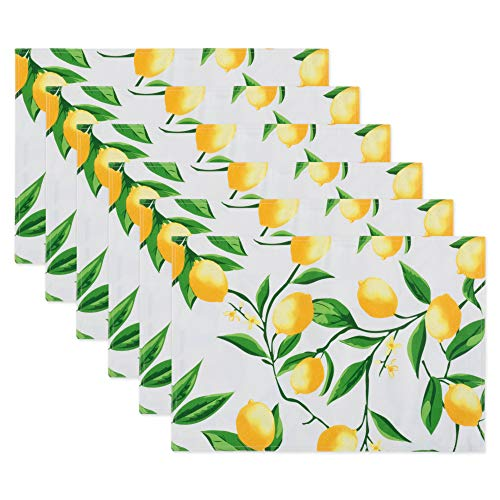 (DII CAMZ11286 Placemat, Reversable & Spill Proof for Indoor or Outdoor Use, Perfect for BBQs, Backyard Parties, Cookouts, Family Gatherings, Lemon Bliss)