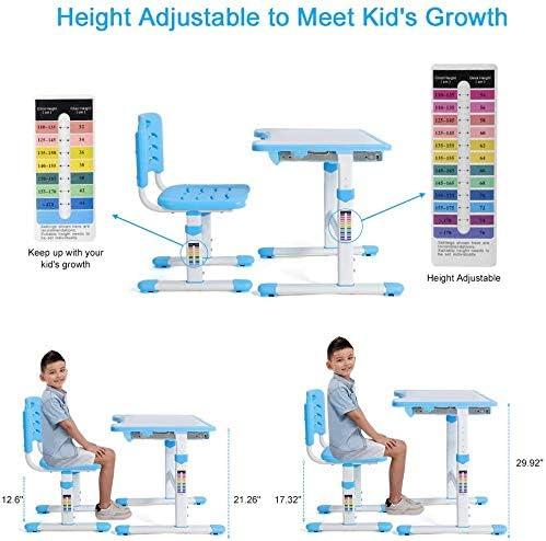 Ejoyous Multifonctionnel Bureau Ergonomique pour Enfant avec Chaise Bleu Bleu Plaque de Table inclinable,Hauteur R/églable sur Plusieurs Niveaux Une Bonne Posture pour Enfant
