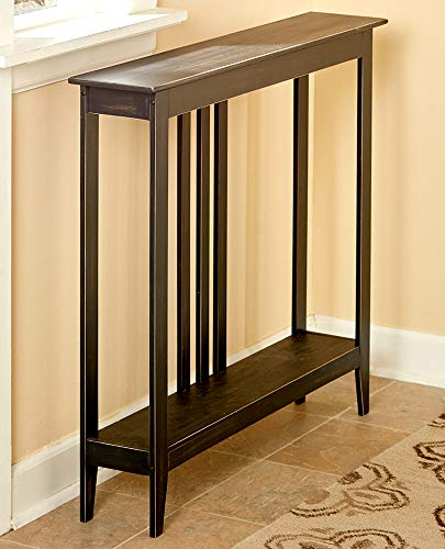 Slim Entry Table - Space-Saving Accent Table with Distressed Finish - Black (Tall Table Narrow)