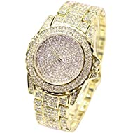 Luxury Watches - Quartz Watches for Men Women Full Rhinestone Diamonds Jewelry Timepiece Relojes by Sameno Watch Delux