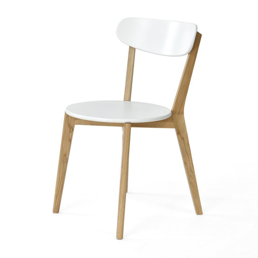 Natoodダイニングチェアソリッドウッドの背もたれの椅子コンピュータの椅子デスクと椅子ラウンジチェア、ゴム製の木製、ダイニングルームのリビングルームの研究、43 * 46 * 79cm , white B077ZPGGWDWhite