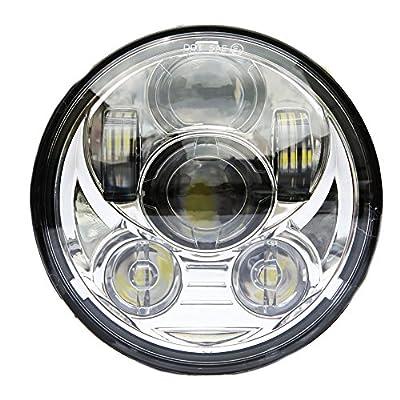 Wisamic 5-3/4 5.75 inch LED Headlight - Compatible with Harley Davidson Dyna Street Bob Super Wide Glide Low Rider Night Rod Train Softail Deuce Custom Sportster Iron 883-Silver: Automotive
