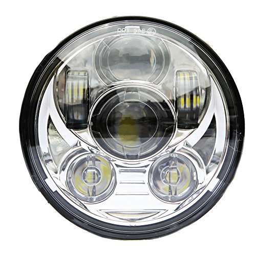 Harley Davidson Softail Parts - Wisamic 5-3/4 5.75 inch LED Headlight - Compatible with Harley Davidson Dyna Street Bob Super Wide Glide Low Rider Night Rod Train Softail Deuce Custom Sportster Iron 883-Silver