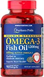 Puritan's Pride Double Strength Omega-3 Fish Oil 1200 mg/600 mg Omega-3-90 Softgels