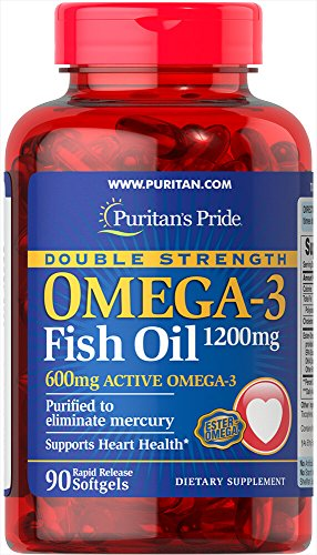 Cheap Puritan's Pride Double Strength Omega-3 Fish Oil 1200 mg/600 mg Omega-3-90 Softgels