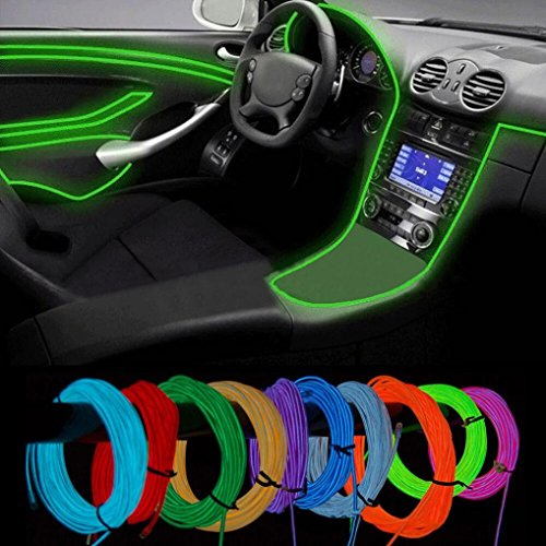 Glumes3M Multicolor Neon Light El Wire Pack Glowing Strobing Wire for Parties Halloween Decoration Dance Party Decor Car LED Car LED Strip Light Flexible Wire Rope Tube Strip Tube (Blue) ()
