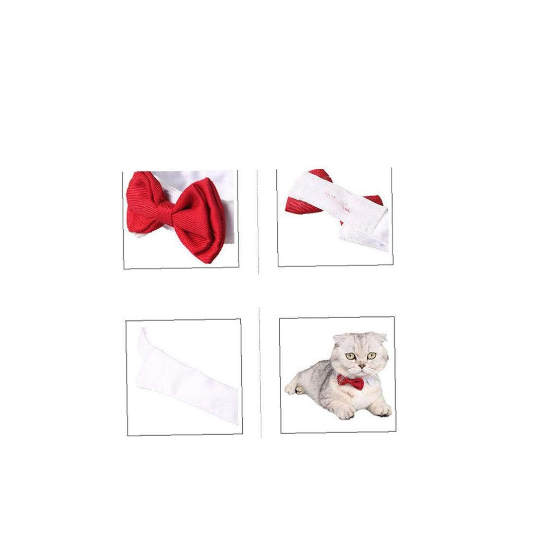 tJexePYK Pet Holiday Collar Dog Cat Bow Decoration Knot Tie For Christmas Wedding New Year Red S 1PC Pet Supplies