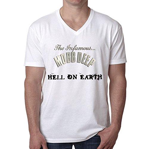 Mobb Deep Hell On Earth T Shirt Mens V Neck White
