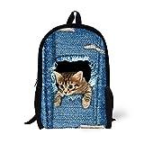 Coloranimal Cute Blue Denim School Bags for Girls Children Cat Backpacks
