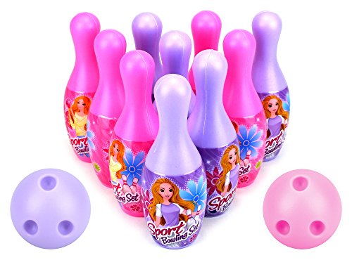 VT Princess Sport Children's Mini 12 Piece Toy Bowling Set w/ 10 Pins, 2 Bowling Balls by Velocity Toys