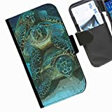Hairyworm - Turtles sat on top of each other LG G3 (D855, D850, D851) leather side flip wallet cell phone case, cover with card slots, money slot and magnetic clasp to close.