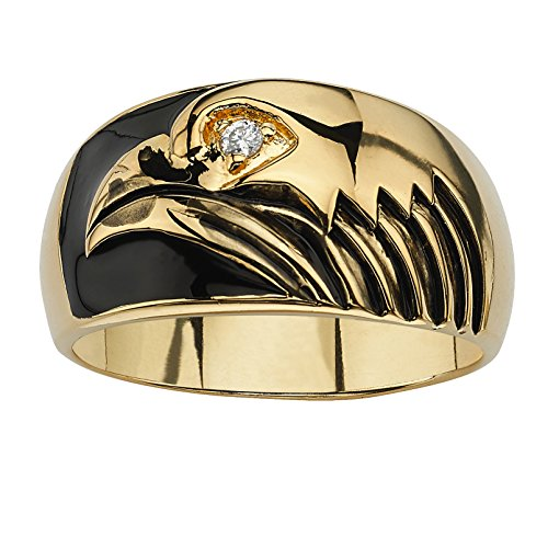 - Palm Beach Jewelry Men's 18K Yellow Gold-Plated Enamel and Cubic Zirconia Accent Eagle Ring Size 10