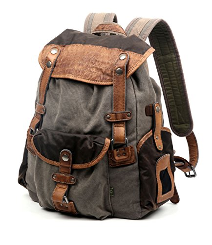 The Same Direction Tapa Two Tone Canvas Backpack Leather and Canvas Bag (Grey) by The Same Direction (Image #1)