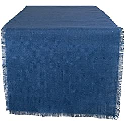 "DII 100% Jute Rustic Vintage Table Runner for Parties BBQ's Everyday & Holidays Use, 15x48"", Nautical Blue"