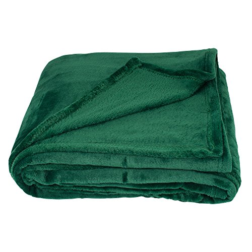 SOCHOW Flannel Fleece Blanket Throw Size, All Season Super Soft Cozy Blanket for Bed or Couch, Green (Green Blankets Throw)