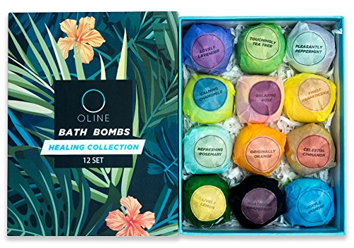 Premium Natural - Oline Naturals Bath Bombs Gift Set 12 , Extra Lush & Perfect for Spa & Bubble Bath, Handmade All Natural and Organic