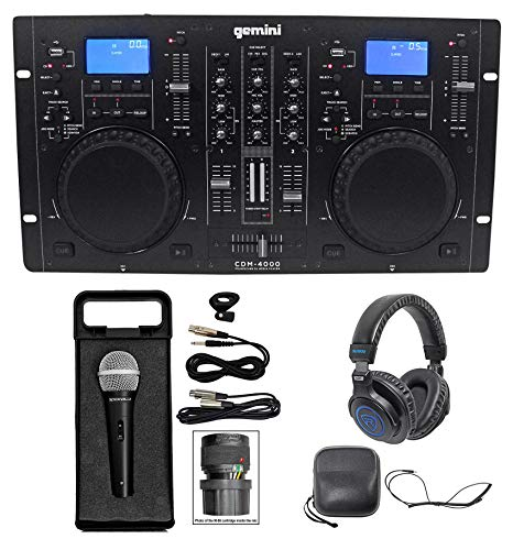Gemini CDM-4000 2 Ch. Dual DJ Mixer Media Player MP3/CD/USB+Headphones+Mic+Cable (Cd Player Dj Usb)