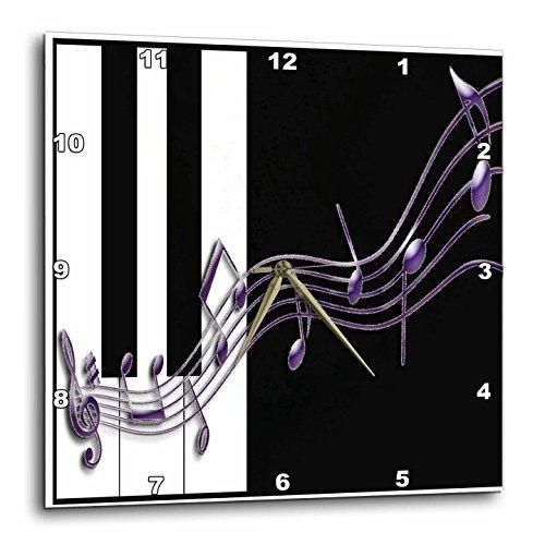 3dRose dpp_24373_1 Purple Music Notes on Piano Keys Wall Clock, 10 by 10-Inch