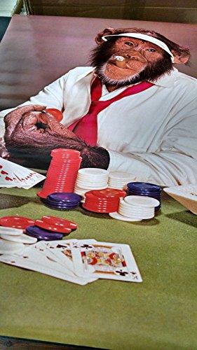 1978 Poker Face Chimp playing cards vintage new NOS poster HBX63 (Face Chimp)