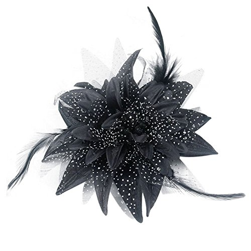 Song Qing Women Dance Wedding Party Hair Clip Flower Feather Hairpin Fascinator Brooch Pin Accessory Black