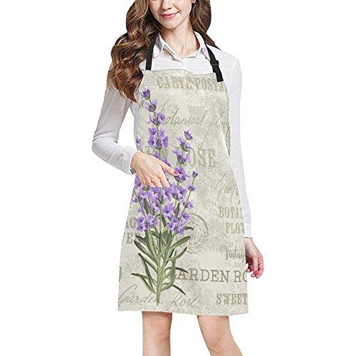 (InterestPrint Elegant Postcard Lavender Flowers Vintage Floral Adjustable Bib Apron with Pockets - Commercial Restaurant and Home Kitchen Adjustable Apron, Plus Size)