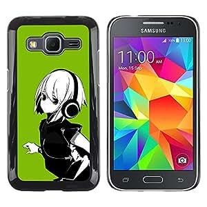 Paccase / Dura PC Caso Funda Carcasa de Protección para - Anime Girl White Hair Headphones Music Green - Samsung Galaxy Core Prime SM-G360