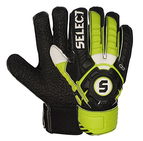 Select 03 Youth Hard Ground Goalkeeper Gloves with Finger Protection, Black/Green, Size 8