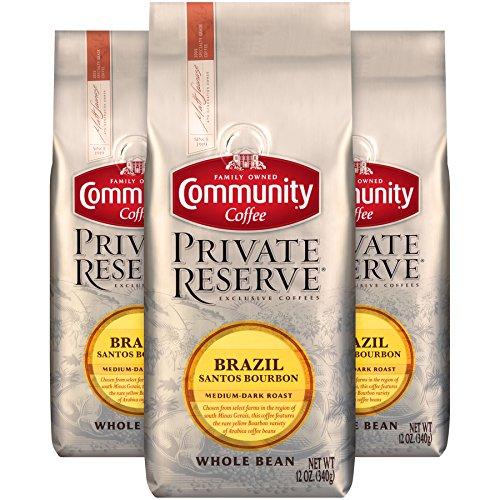 Community Coffee Brazil Santos Bourbon Medium Dark Roast Gourmet Private Reserve Whole...