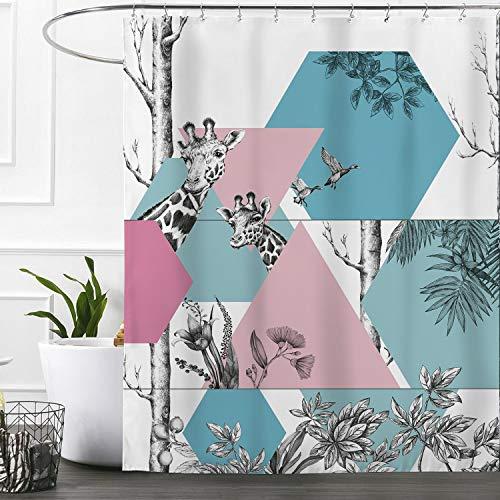 "Shower Flower Giraffe Blue (Ashler Waterproof Bathroom Shower Curtain Sets with Plastic Hooks Mildew Resistant 70""x 72"" Blue Giraffe-2)"