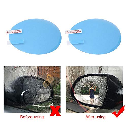 TOOGOO 2pcs Motorcycle Car Side Rear View Mirror Protective Film Anti Fog Rainproof Rear View Mirror Window Clear Waterproof Membrane by TOOGOO (Image #1)
