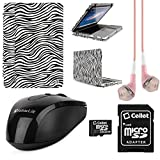 Faux Leather Book Style Folio Protective Cover for Apple Macbook Pro 13.3-inch Laptops + Pink VanGoddy Headphones + Black USB Wireless Mouse + 16GB Memory Card (Zebra)