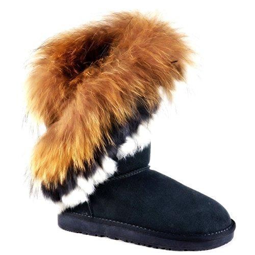 Warm Gefütterte Damen Stiefeletten Stiefel Boots Flache Schlupfstiefel Winter Langschaft 896-2 Blau