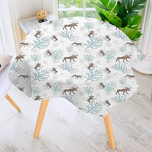 UHOO2018 Circular Table Cover Washable Polyester-Winter Forest Retro Illustration with Reindeer and Trees Snowy Xmas Nature Brown Blue Stain Resistant Wrinkle Free Dust Table Cover 50