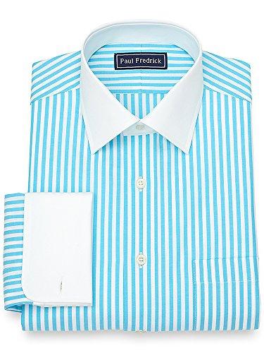 Paul Fredrick Men's Slim Fit Cotton Bengal Stripe Dress Shirt Aqua 17.5/33