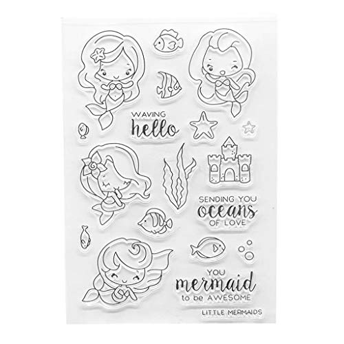 Animals Clear Stamps - ShapeW Mermaids Silicone Clear Stamp Scrapbook Album Home Decor Gift Card Kid Adult DIY