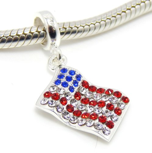 Pugster American Flag - Pro Jewelry .925 Sterling Silver Dangling