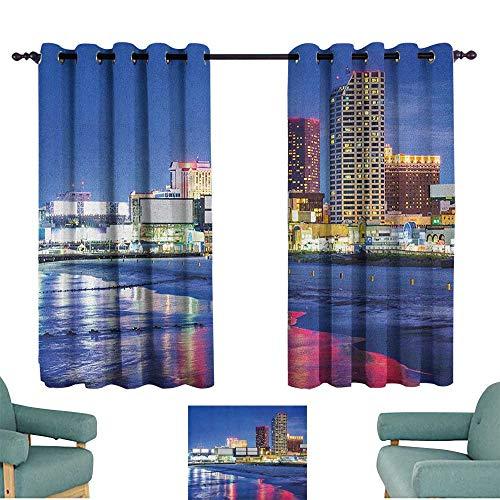 City,Patio Door Curtains Ight Bocking Resort Casinos on Shore at Night Atlantic City New Jersey United States 52