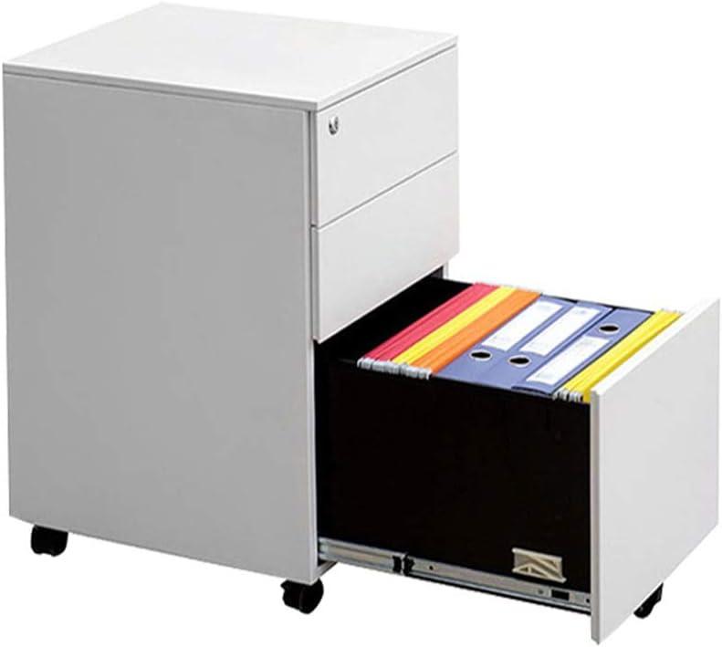 引き出しのオフィスてのスモールキャビネット 引き出しスライドロックキーと繊細な3引き出しメタルモバイルファイルキャビネットは、完全実装します 家具てのスモールキャビネット (色 : 白, Size : 65x40x50cm)