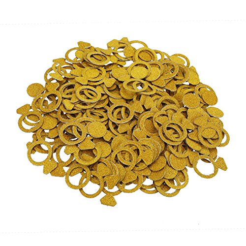 LOKIPA 200pcs Gold Diamond Ring Cutous Double-Sparkle Confetti Paper Decorations for Wedding Party,DIY Invitation Card,Tables and Ballons