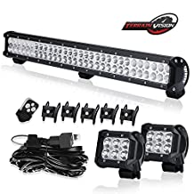 """Premium 28"""" 30"""" 32"""" IN Led Light Bar 180W Combo + 4"""" 18w Offroad Cube Pods + Remote Wiring Harness fit Jeep Hard Rock Dodge Ram 2500 Toyota POLARIS RZR XP Bennche Arctic Wildcat Grille Hiden Bumper"""