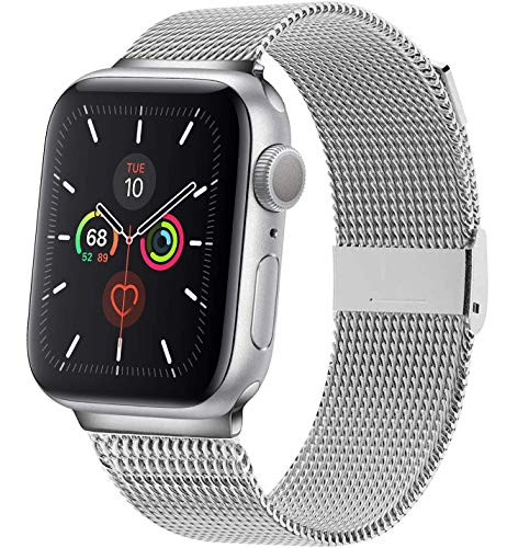 OSUVOX Compatible for Apple Watch Band, 38mm/40mm 42mm/44mm, Stainless Steel Loop Magnetic Band Compatible with Iwatch Series 5/4/3/2/1 (Silver, 42mm/44mm)