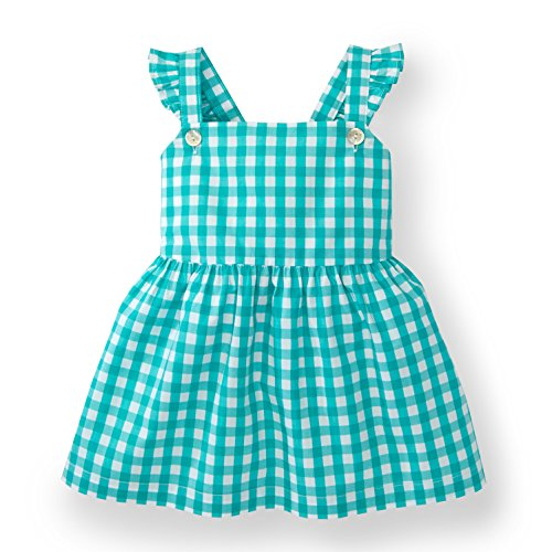 Organic Green Cotton Strap (Hope & Henry Girls' Green Gingham Apron Top Made with Organic Cotton)
