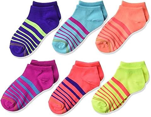 Gold Toe Big Girls' Six-Pack Liner Socks, Assorted Stripes, Large - Childrens Toe Socks