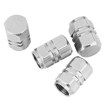 Ociodual 4X Tapones de Aluminio para la Valvula del neumatico de Coche, Moto, Bici, etc. Tapas Cubierta Plateados: Amazon.es: Electrónica